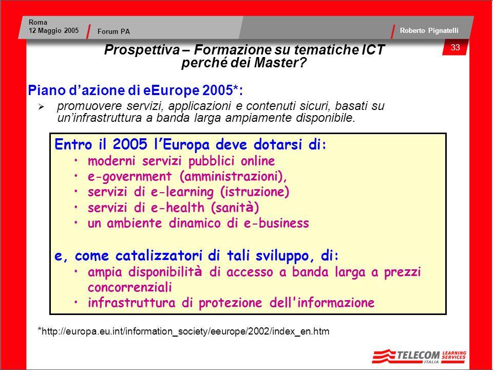 34 Roma 12 Maggio 2005 Roberto Pignatelli Forum PA Prospettiva – Formazione su tematiche ICT perché dei Master.