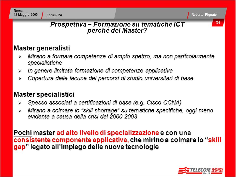35 Roma 12 Maggio 2005 Roberto Pignatelli Forum PA Prospettiva – Formazione su tematiche ICT perché dei Master.