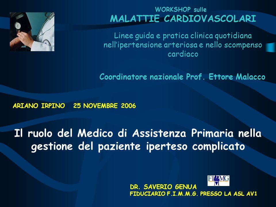 WORKSHOP sulle MALATTIE CARDIOVASCOLARI Il ruolo del Medico di Assistenza Primaria nella gestione del paziente iperteso complicato DR. SAVERIO GENUA F