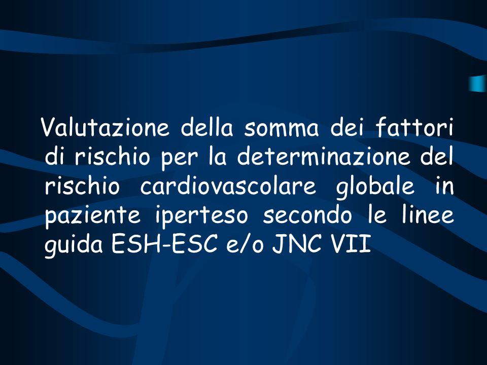 Valutazione della somma dei fattori di rischio per la determinazione del rischio cardiovascolare globale in paziente iperteso secondo le linee guida E
