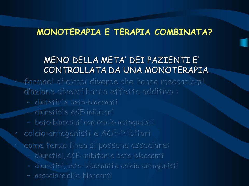 MONOTERAPIA E TERAPIA COMBINATA?
