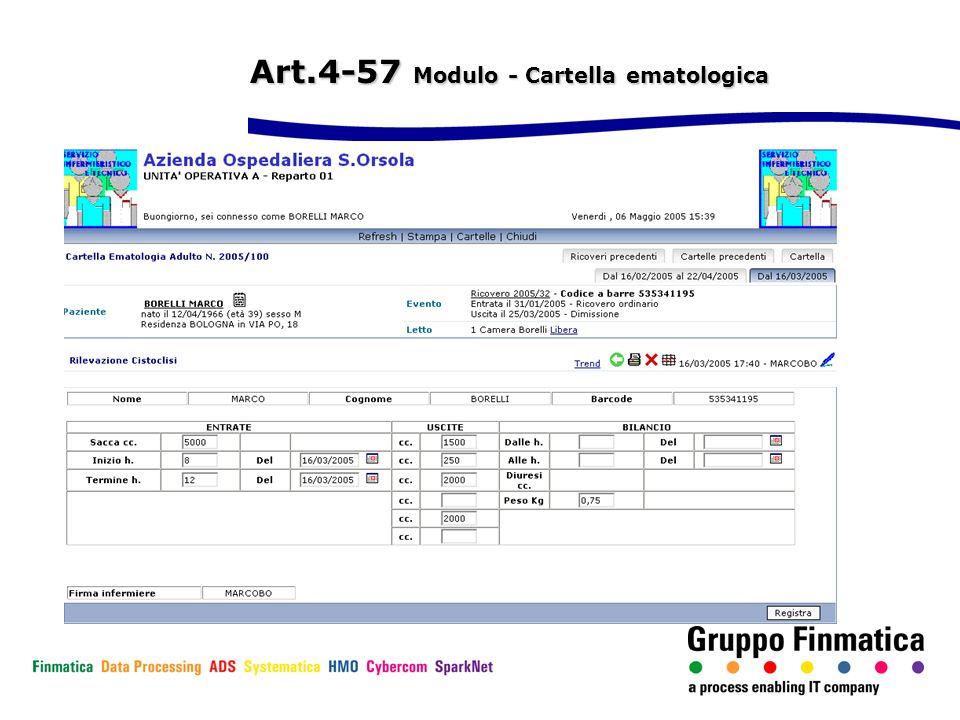 Art.4-57 Modulo - Cartella ematologica