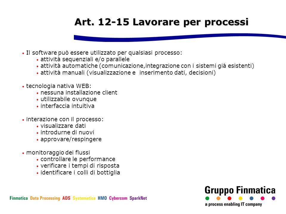 Art. 12-15 Lavorare per processi Il software può essere utilizzato per qualsiasi processo: attività sequenziali e/o parallele attività automatiche (co