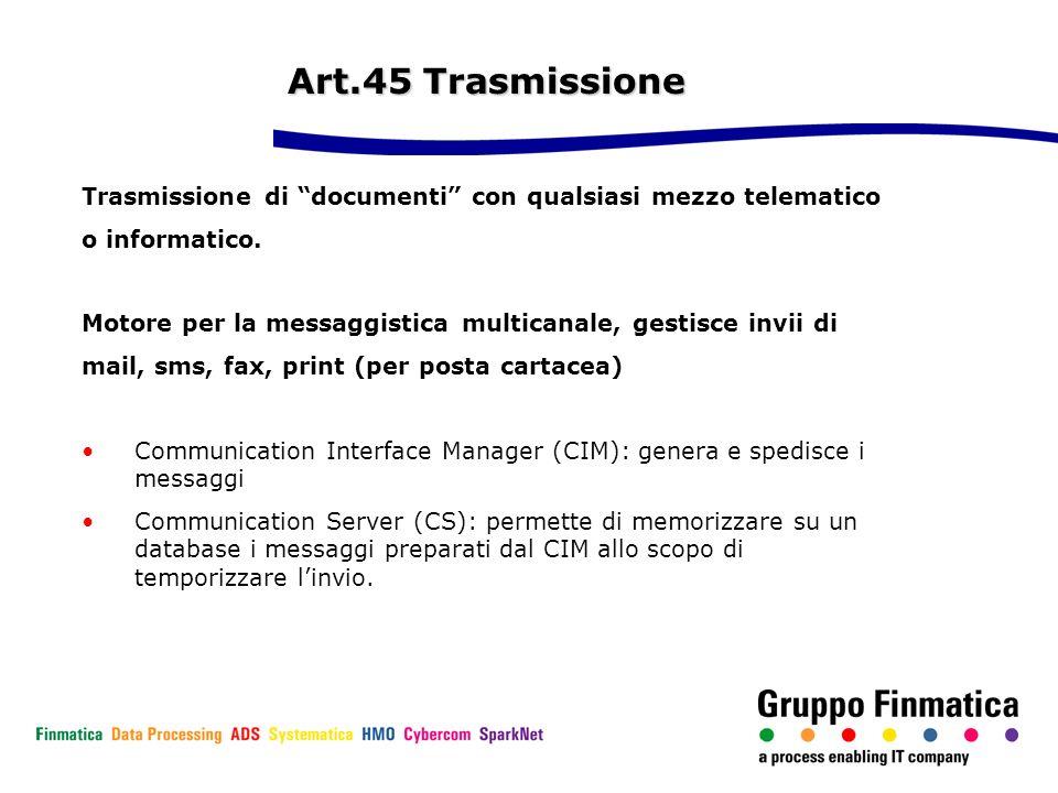 Art.45 Trasmissione Art.45 Trasmissione Trasmissione di documenti con qualsiasi mezzo telematico o informatico. Motore per la messaggistica multicanal