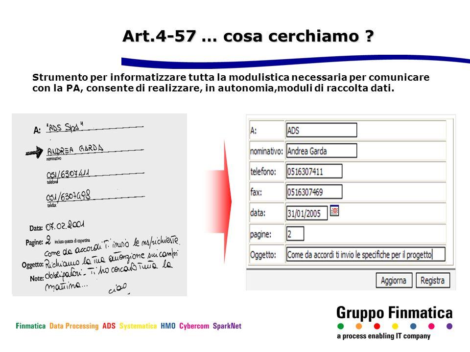 Art.4-57 … cosa cerchiamo ? Strumento per informatizzare tutta la modulistica necessaria per comunicare con la PA, consente di realizzare, in autonomi