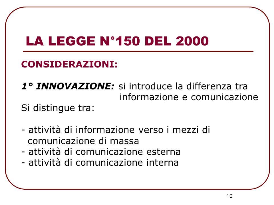 10 CONSIDERAZIONI: 1° INNOVAZIONE: si introduce la differenza tra informazione e comunicazione Si distingue tra: - attività di informazione verso i me