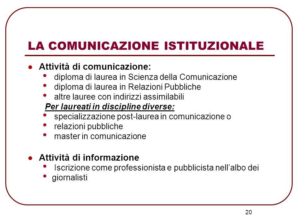 20 LA COMUNICAZIONE ISTITUZIONALE Attività di comunicazione: diploma di laurea in Scienza della Comunicazione diploma di laurea in Relazioni Pubbliche