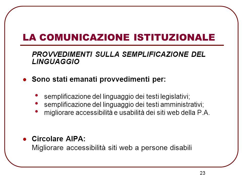 23 LA COMUNICAZIONE ISTITUZIONALE PROVVEDIMENTI SULLA SEMPLIFICAZIONE DEL LINGUAGGIO Sono stati emanati provvedimenti per: semplificazione del linguag