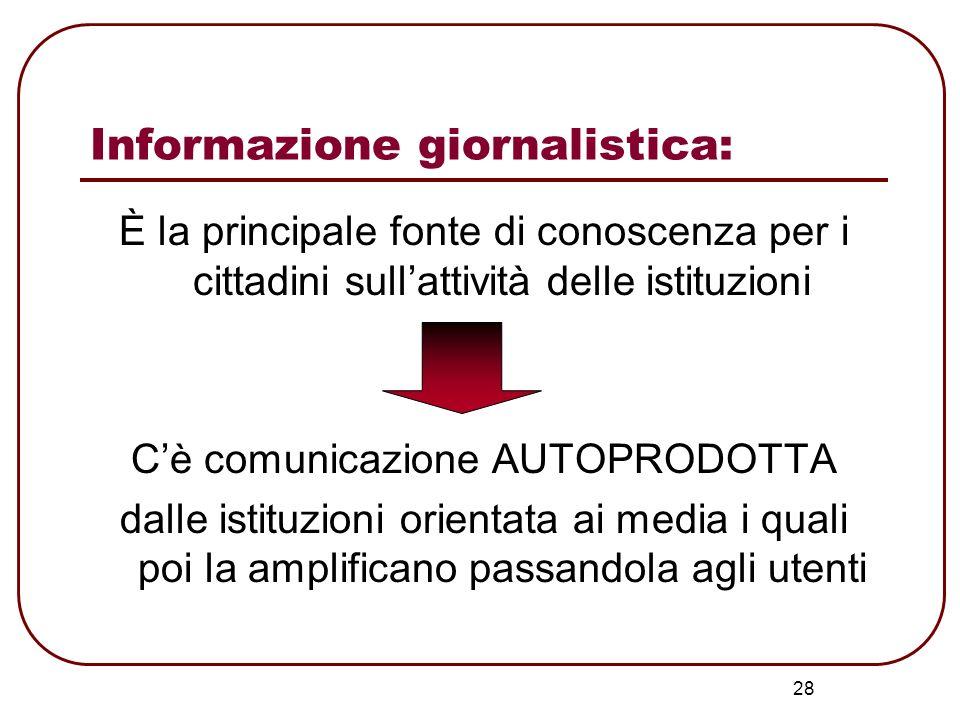 28 Informazione giornalistica: È la principale fonte di conoscenza per i cittadini sullattività delle istituzioni Cè comunicazione AUTOPRODOTTA dalle