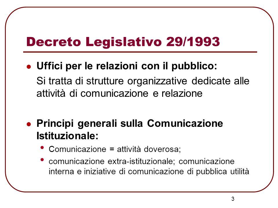 3 Decreto Legislativo 29/1993 Uffici per le relazioni con il pubblico: Si tratta di strutture organizzative dedicate alle attività di comunicazione e