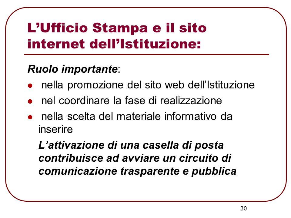 30 LUfficio Stampa e il sito internet dellIstituzione: Ruolo importante: nella promozione del sito web dellIstituzione nel coordinare la fase di reali