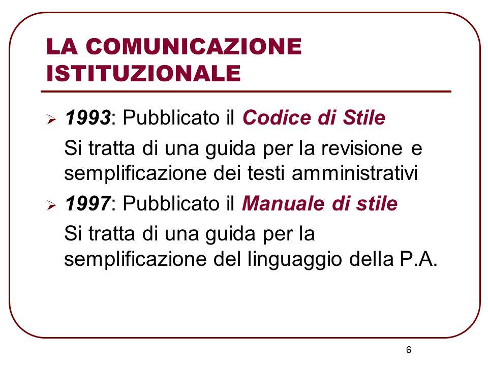 6 1993: Pubblicato il Codice di Stile Si tratta di una guida per la revisione e semplificazione dei testi amministrativi 1997: Pubblicato il Manuale d