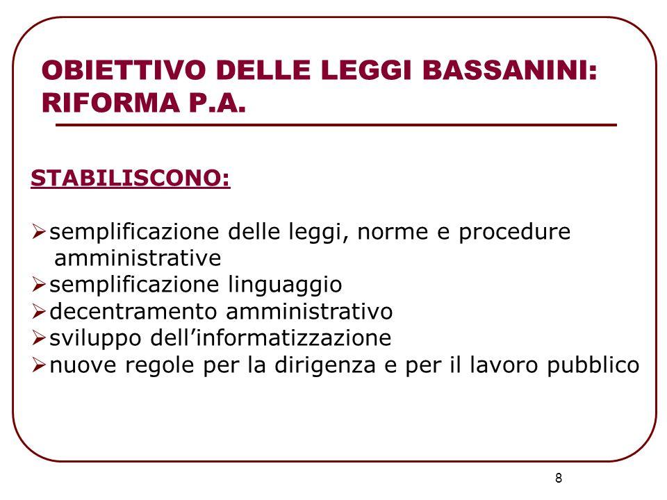 8 STABILISCONO: semplificazione delle leggi, norme e procedure amministrative semplificazione linguaggio decentramento amministrativo sviluppo dellinf