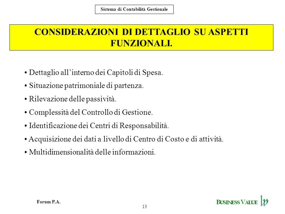13 Forum P.A. Sistema di Contabilità Gestionale CONSIDERAZIONI DI DETTAGLIO SU ASPETTI FUNZIONALI. Dettaglio allinterno dei Capitoli di Spesa. Situazi