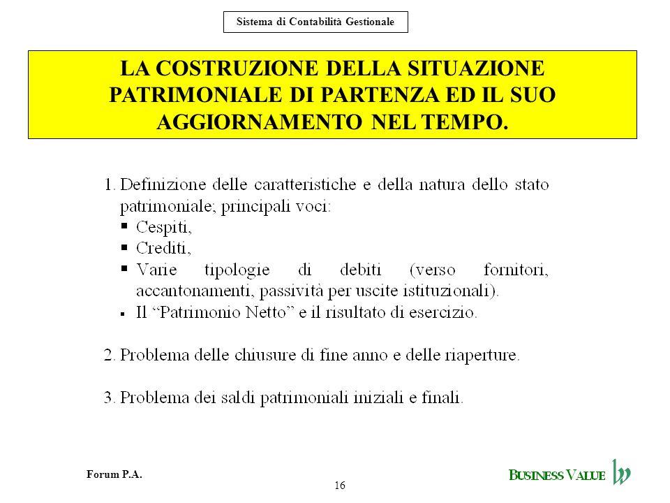 16 Forum P.A. Sistema di Contabilità Gestionale LA COSTRUZIONE DELLA SITUAZIONE PATRIMONIALE DI PARTENZA ED IL SUO AGGIORNAMENTO NEL TEMPO.