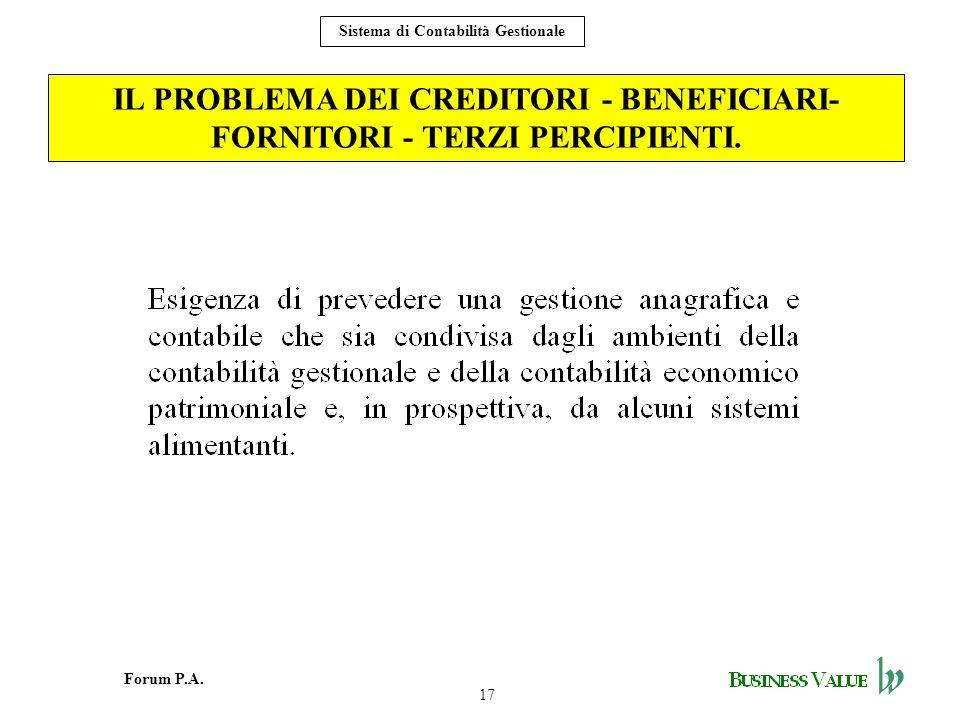 17 Forum P.A. Sistema di Contabilità Gestionale IL PROBLEMA DEI CREDITORI - BENEFICIARI- FORNITORI - TERZI PERCIPIENTI.