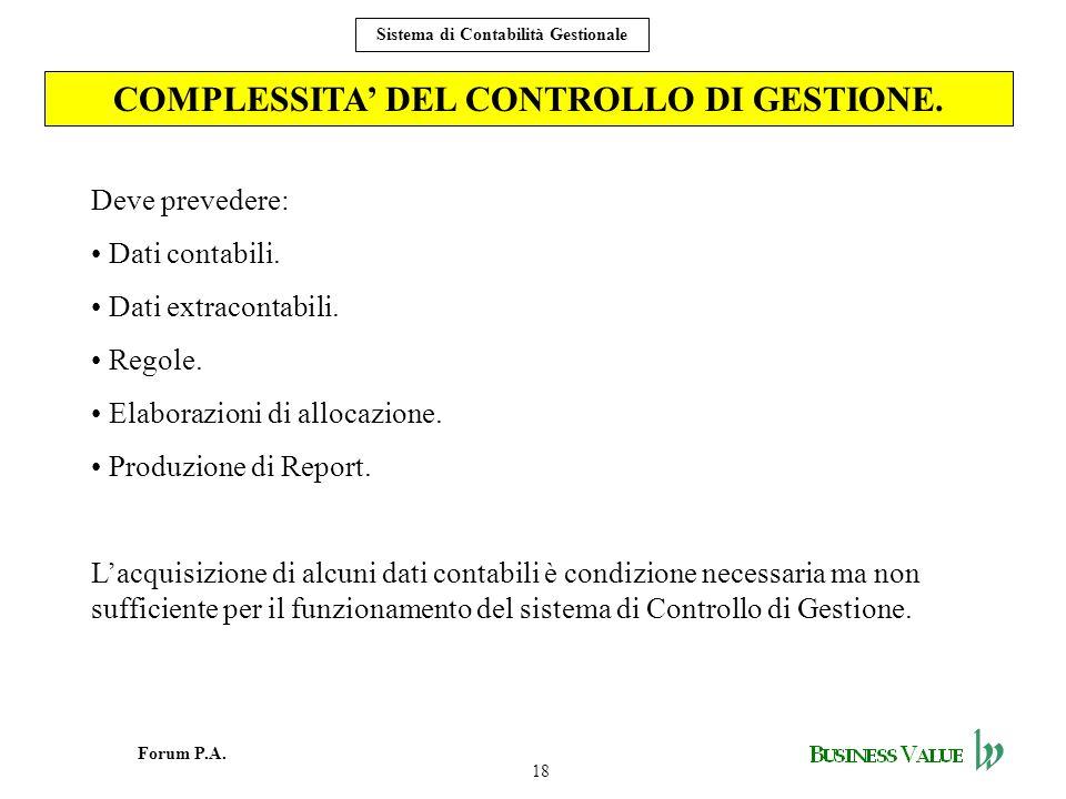18 Forum P.A. Sistema di Contabilità Gestionale COMPLESSITA DEL CONTROLLO DI GESTIONE. Deve prevedere: Dati contabili. Dati extracontabili. Regole. El