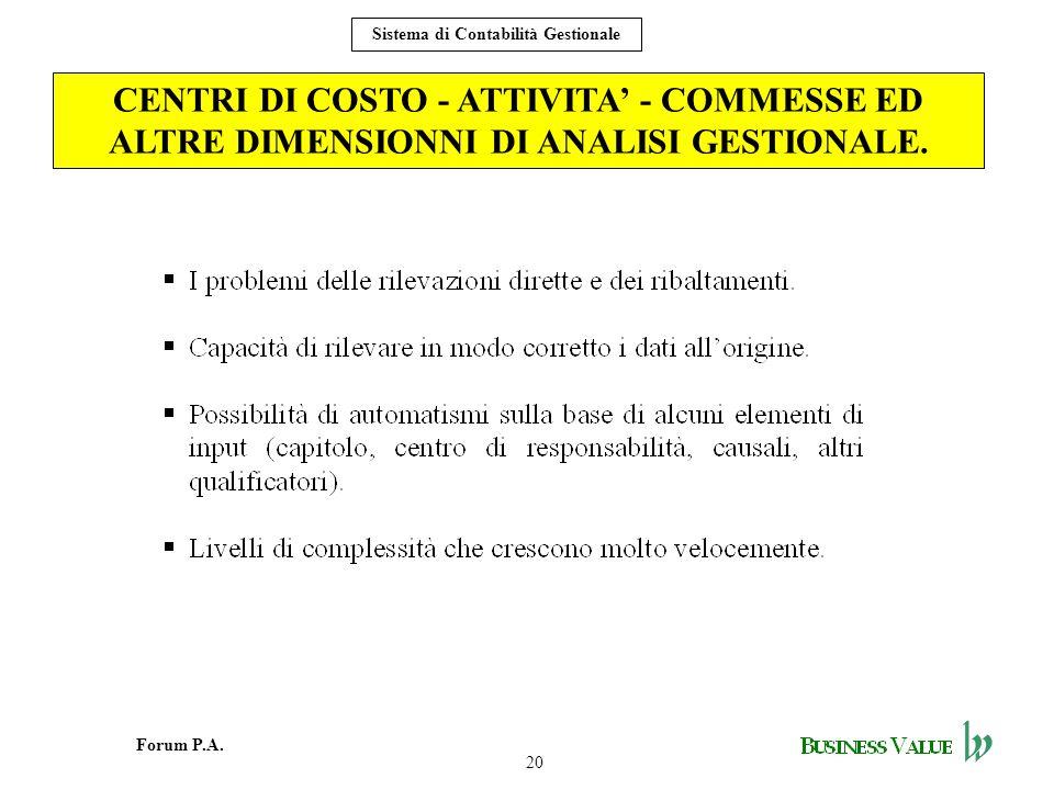 20 Forum P.A. Sistema di Contabilità Gestionale CENTRI DI COSTO - ATTIVITA - COMMESSE ED ALTRE DIMENSIONNI DI ANALISI GESTIONALE.