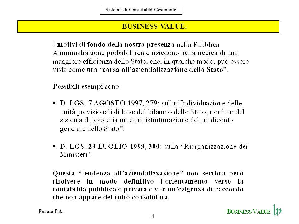 4 Forum P.A. Sistema di Contabilità Gestionale BUSINESS VALUE.