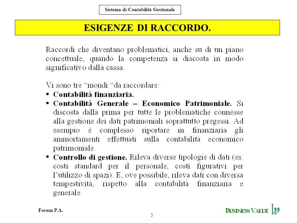 5 Forum P.A. Sistema di Contabilità Gestionale ESIGENZE DI RACCORDO.