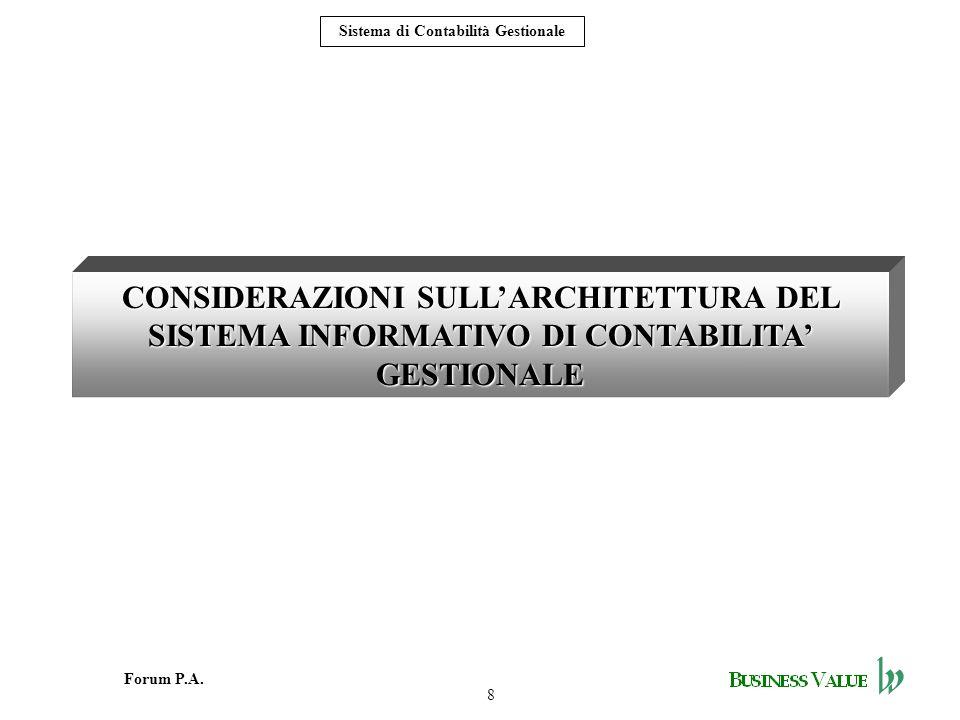 8 Forum P.A. Sistema di Contabilità Gestionale CONSIDERAZIONI SULLARCHITETTURA DEL SISTEMA INFORMATIVO DI CONTABILITA GESTIONALE