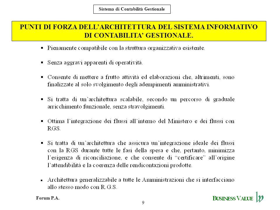 9 Forum P.A. Sistema di Contabilità Gestionale PUNTI DI FORZA DELLARCHITETTURA DEL SISTEMA INFORMATIVO DI CONTABILITA GESTIONALE.