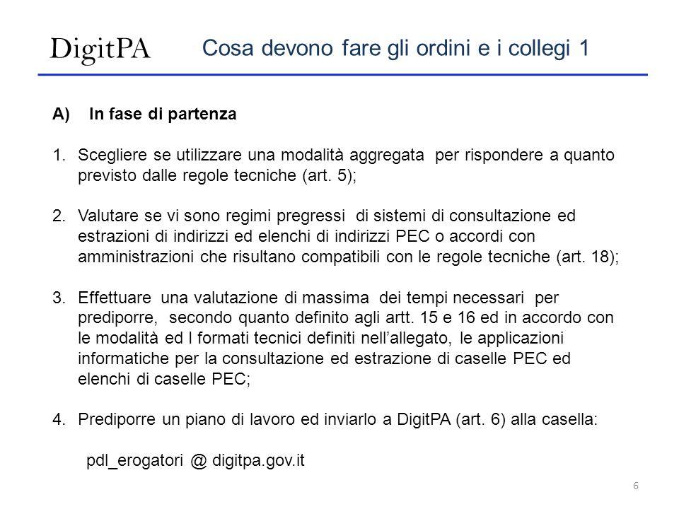 DigitPA Cosa devono fare gli ordini e i collegi 1 A) In fase di partenza 1.Scegliere se utilizzare una modalità aggregata per rispondere a quanto previsto dalle regole tecniche (art.