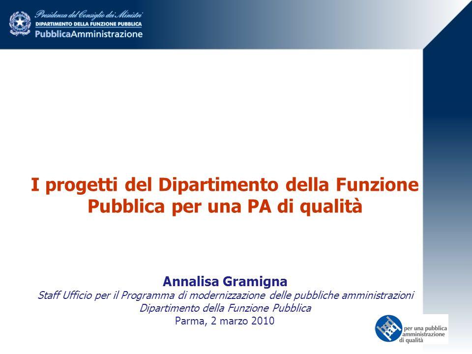 I progetti del Dipartimento della Funzione Pubblica per una PA di qualità Annalisa Gramigna Staff Ufficio per il Programma di modernizzazione delle pubbliche amministrazioni Dipartimento della Funzione Pubblica Parma, 2 marzo 2010