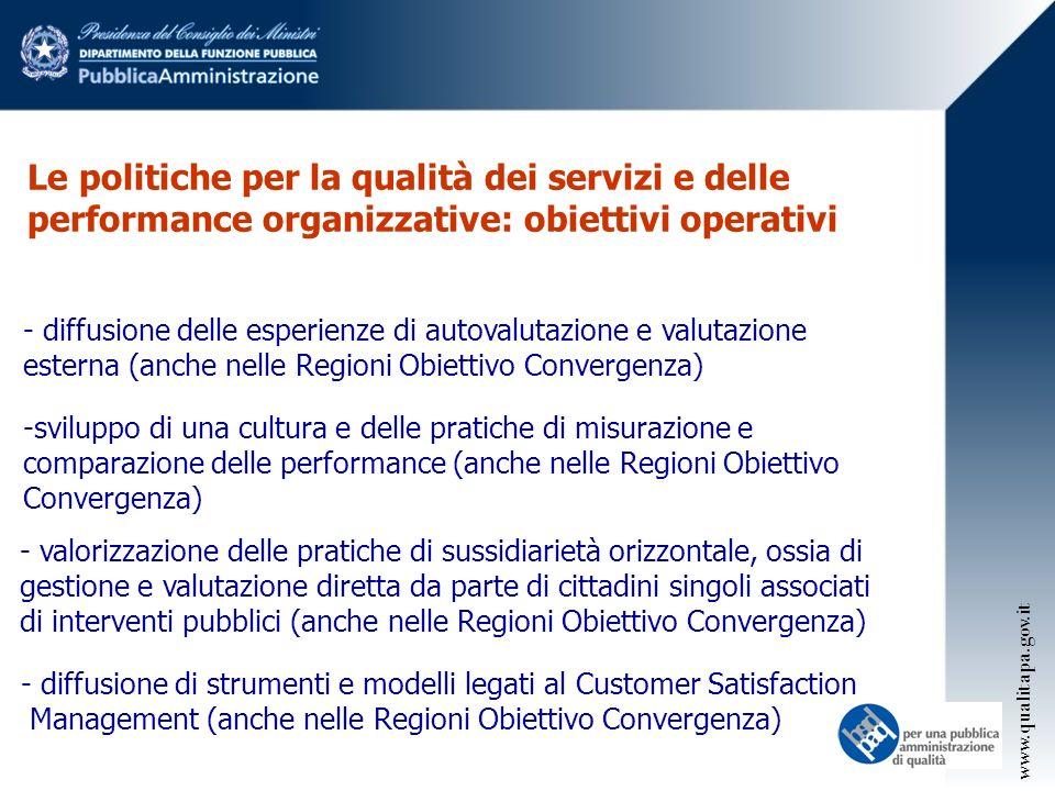 Le politiche per la qualità dei servizi e delle performance organizzative: obiettivi operativi - diffusione delle esperienze di autovalutazione e valutazione esterna (anche nelle Regioni Obiettivo Convergenza) -sviluppo di una cultura e delle pratiche di misurazione e comparazione delle performance (anche nelle Regioni Obiettivo Convergenza) - valorizzazione delle pratiche di sussidiarietà orizzontale, ossia di gestione e valutazione diretta da parte di cittadini singoli associati di interventi pubblici (anche nelle Regioni Obiettivo Convergenza) - diffusione di strumenti e modelli legati al Customer Satisfaction Management (anche nelle Regioni Obiettivo Convergenza) www.qualitapa.gov.it