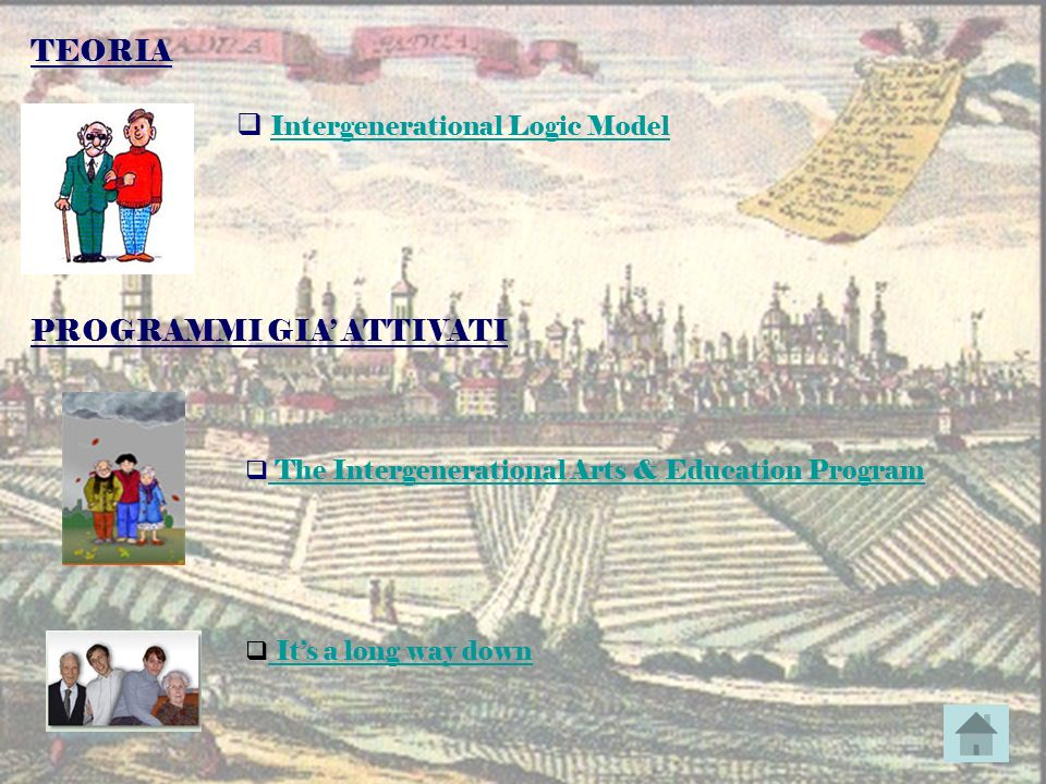 Intergenerational Logic Model Intergenerational Logic Model The Intergenerational Arts & Education Program TEORIA PROGRAMMI GIA ATTIVATI Its a long wa