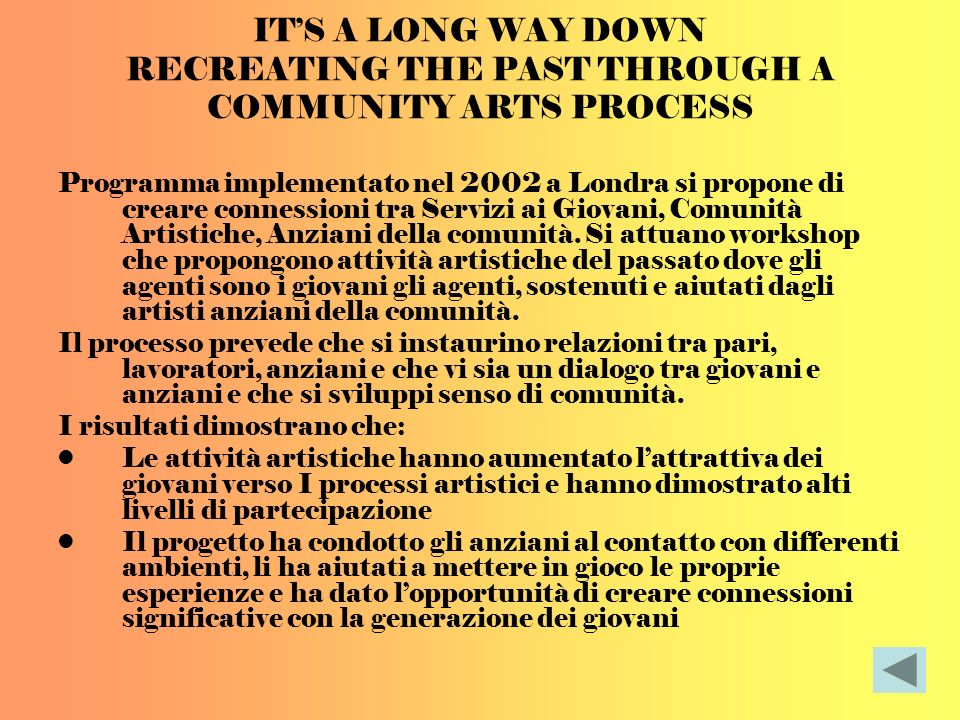 ITS A LONG WAY DOWN RECREATING THE PAST THROUGH A COMMUNITY ARTS PROCESS Programma implementato nel 2002 a Londra si propone di creare connessioni tra