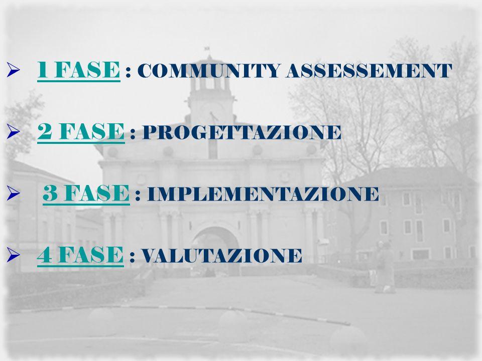 1 FASE : COMMUNITY ASSESSEMENT 1 FASE 2 FASE : PROGETTAZIONE 2 FASE 3 FASE : IMPLEMENTAZIONE3 FASE 4 FASE : VALUTAZIONE 4 FASE