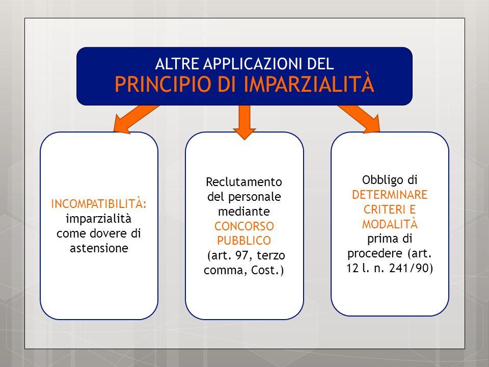 INCOMPATIBILITÀ: imparzialità come dovere di astensione Reclutamento del personale mediante CONCORSO PUBBLICO (art. 97, terzo comma, Cost.) Obbligo di