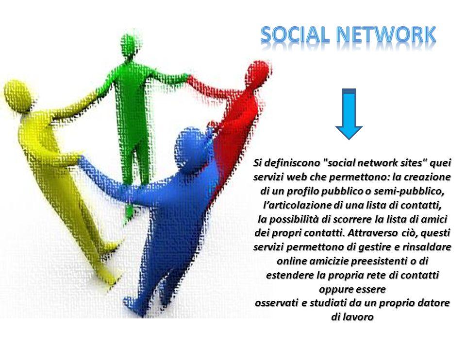 Si definiscono social network sites quei servizi web che permettono: la creazione di un profilo pubblico o semi-pubblico, larticolazione di una lista di contatti, la possibilità di scorrere la lista di amici dei propri contatti.