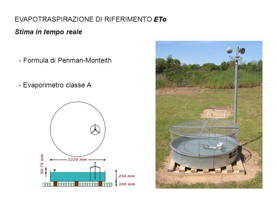 ETo EVAPOTRASPIRAZIONE DI RIFERIMENTO ETo Stima in tempo reale - Formula di Penman-Monteith - Evaporimetro classe A