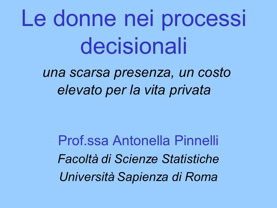 Le donne nei processi decisionali una scarsa presenza, un costo elevato per la vita privata Prof.ssa Antonella Pinnelli Facoltà di Scienze Statistiche