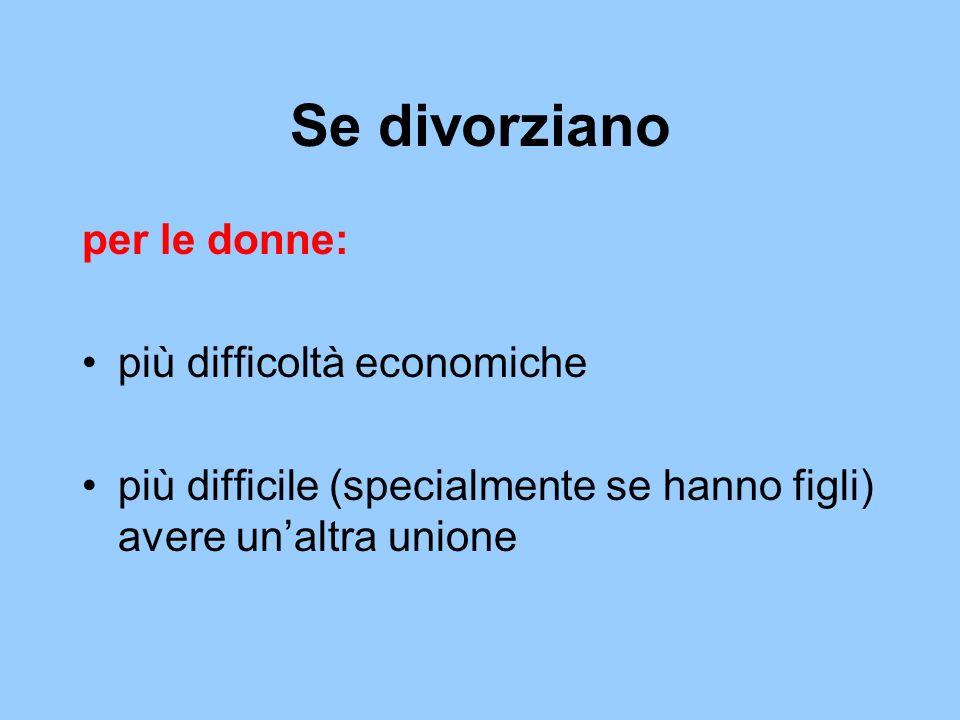 Se divorziano per le donne: più difficoltà economiche più difficile (specialmente se hanno figli) avere unaltra unione