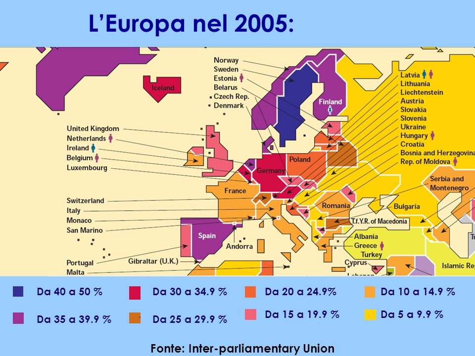 LEuropa nel 2005: Da 40 a 50 % Da 35 a 39.9 % Da 30 a 34.9 % Da 25 a 29.9 % Da 20 a 24.9% Da 15 a 19.9 % Da 10 a 14.9 % Da 5 a 9.9 % Fonte: Inter-parl