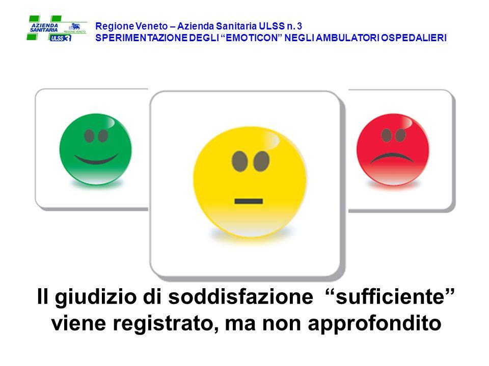 Il giudizio di soddisfazione sufficiente viene registrato, ma non approfondito Regione Veneto – Azienda Sanitaria ULSS n.