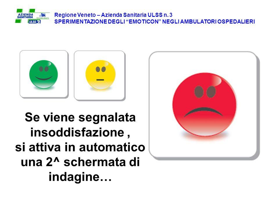 Se viene segnalata insoddisfazione, si attiva in automatico una 2^ schermata di indagine… Regione Veneto – Azienda Sanitaria ULSS n.