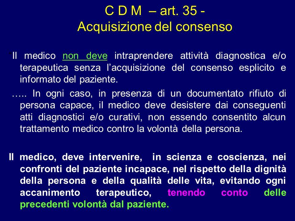 C D M – art. 35 - Acquisizione del consenso Il medico non deve intraprendere attività diagnostica e/o terapeutica senza lacquisizione del consenso esp