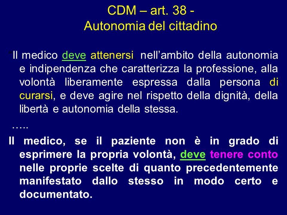 CDM – art. 38 - Autonomia del cittadino Il medico deve attenersi, nellambito della autonomia e indipendenza che caratterizza la professione, alla volo