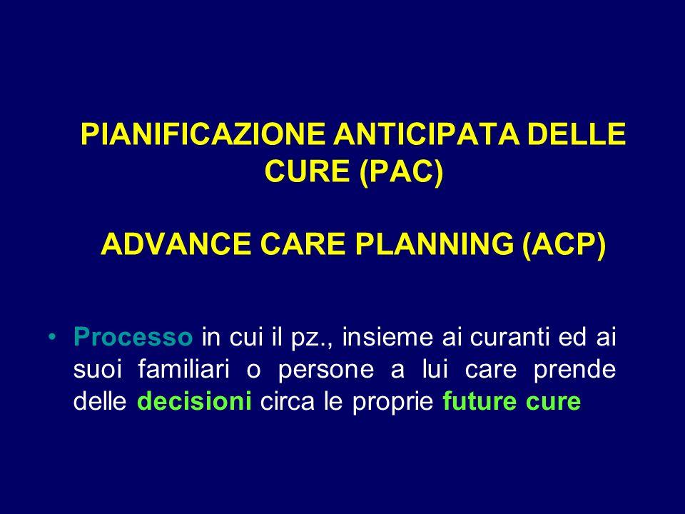 PIANIFICAZIONE ANTICIPATA DELLE CURE (PAC) ADVANCE CARE PLANNING (ACP) Processo in cui il pz., insieme ai curanti ed ai suoi familiari o persone a lui