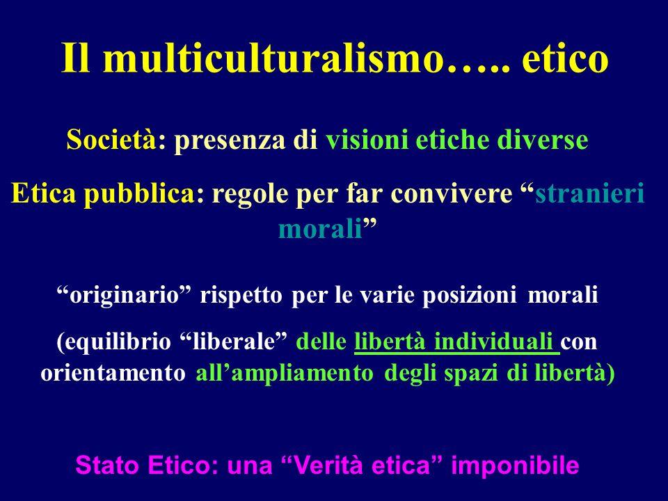 Il multiculturalismo….. etico Società: presenza di visioni etiche diverse Etica pubblica: regole per far convivere stranieri morali originario rispett