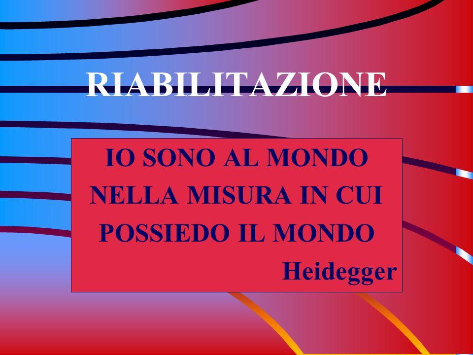 RIABILITAZIONE IO SONO AL MONDO NELLA MISURA IN CUI POSSIEDO IL MONDO Heidegger