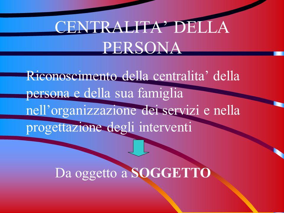 CENTRALITA DELLA PERSONA Riconoscimento della centralita della persona e della sua famiglia nellorganizzazione dei servizi e nella progettazione degli