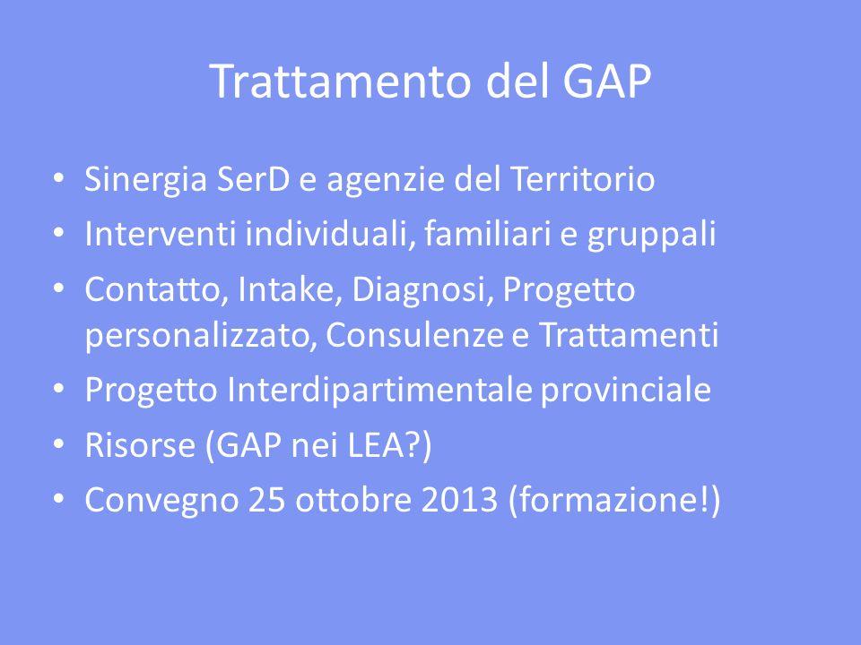 Trattamento del GAP Sinergia SerD e agenzie del Territorio Interventi individuali, familiari e gruppali Contatto, Intake, Diagnosi, Progetto personali