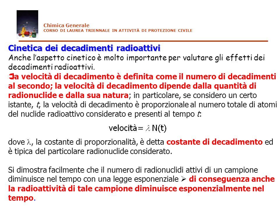 Cinetica dei decadimenti radioattivi Anche laspetto cinetico è molto importante per valutare gli effetti dei decadimenti radioattivi. la velocità di d