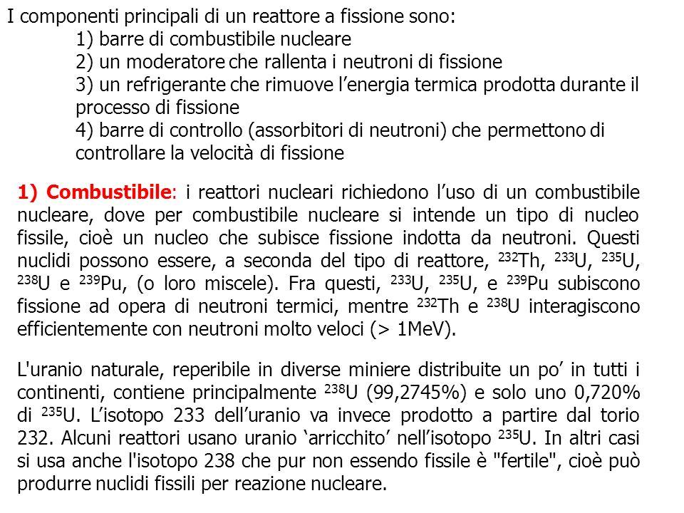 I componenti principali di un reattore a fissione sono: 1) barre di combustibile nucleare 2) un moderatore che rallenta i neutroni di fissione 3) un r
