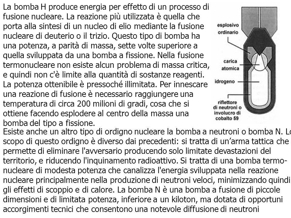 La bomba H produce energia per effetto di un processo di fusione nucleare. La reazione più utilizzata è quella che porta alla sintesi di un nucleo di